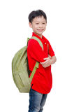 Schoolboy with backpack over white Stock Photo