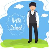 Schoolboy with backpack says `Hello school`. Schoolboy with backpack goes to school on a background of a landscape. `Hello school` in the speech bubble royalty free illustration