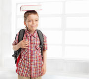 Schoolboy with backpack at school Royalty Free Stock Photo