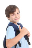 Schoolboy with backpack. Smiling schoolboy with backpack on a white background stock images