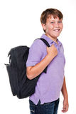 Schoolboy with bag isolated Royalty Free Stock Images