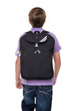 Schoolboy with bag isolated Stock Photos