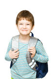 Schoolboy with bag isolated on white background. Stock Images