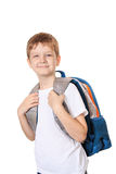 Schoolboy with bag isolated on white. Stock Photography