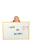 Schoolboy with banner Royalty Free Stock Images