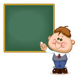 Schoolboy at the  blackboard. Back to school. Cute schoolchild at the  blackboard to answer a lesson. Vector illustration Royalty Free Stock Images