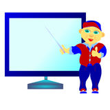 Schoolboy at the blackboard. With a pointer vector illustration Stock Photos