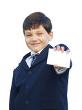 Schoolboy with blank card Stock Images