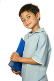 Schoolboy with blue folder, Stock Image