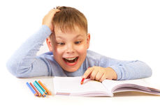Schoolboy with the book Royalty Free Stock Photography