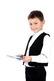 Schoolboy with book and pen Royalty Free Stock Photos