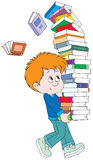 Schoolboy with books. Vector clip-art / funny character for your design Royalty Free Stock Photos