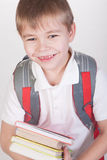 Schoolboy with books and backpack Stock Photos