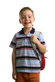 Schoolboy with books and backpack Royalty Free Stock Images