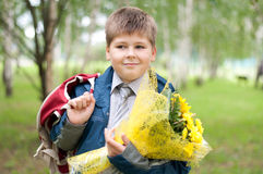 Schoolboy with a bouquet in the park Stock Photos