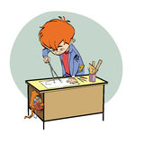 Schoolboy boy drawing lesson designer engineer Royalty Free Stock Photos