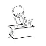 Schoolboy boy drawing lesson designer engineer Royalty Free Stock Image