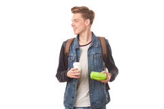 Schoolboy with breakfast Royalty Free Stock Photos