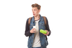 Schoolboy with breakfast Stock Images