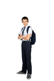 Schoolboy with a briefcase isolated Royalty Free Stock Photo