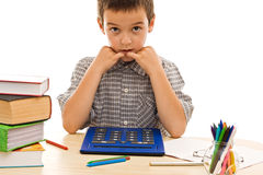 Schoolboy with calculator Royalty Free Stock Photography