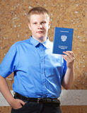 Schoolboy with the certificate about completion of education at school.Portrait Royalty Free Stock Image