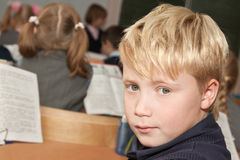 Schoolboy in the classroom Royalty Free Stock Photo