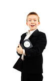 Schoolboy with clock Stock Photos