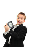 Schoolboy with clock Stock Photo