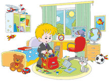 Schoolboy completing his schoolbag. Little boy putting rules, textbooks, exercise books and pencils in a school bag in his room Royalty Free Stock Photography