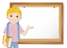 Schoolboy and cork board with paper. Vector Royalty Free Stock Photo