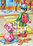 Schoolboy crossing a street with a pet pig on a leash. Colorful artistic illistration of a boy and his pet piglet Royalty Free Stock Image