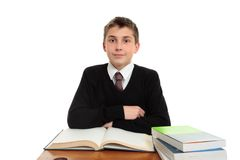 Schoolboy at desk Royalty Free Stock Images