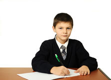 The schoolboy does a homework Royalty Free Stock Images