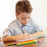 Schoolboy does house lessons Royalty Free Stock Images
