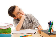 Schoolboy doing his homework Royalty Free Stock Photography