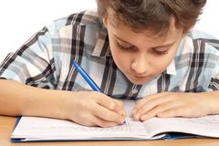 Schoolboy doing homework Royalty Free Stock Photography