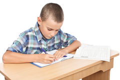 Schoolboy doing homework Stock Photo