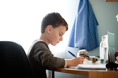 Schoolboy doing homework at his royalty free stock photos