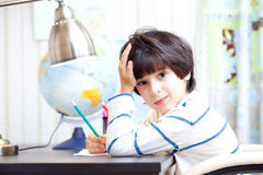 Schoolboy doing homework Royalty Free Stock Photo