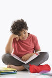 Schoolboy doing homework royalty free stock images