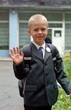 Schoolboy doing to school. On first lesson Royalty Free Stock Photo