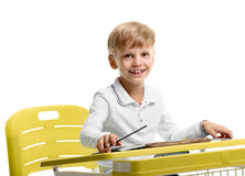 Schoolboy enjoying lesson Royalty Free Stock Photo