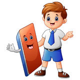 A schoolboy with eraser cartoon Royalty Free Stock Image