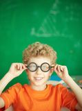 Schoolboy in eyeglasses Royalty Free Stock Image