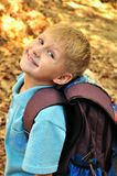 Schoolboy in fall time Stock Image