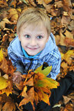 Schoolboy in fall time Royalty Free Stock Image