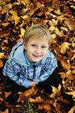 Schoolboy in fall time Stock Photo