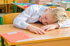 A schoolboy fell a sleep on a lesson. Royalty Free Stock Photos