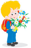 Schoolboy with flowers. Vector illustration of a first grader holding a bouquet of flowers at the beginning of the school year on the first of September Royalty Free Stock Photography